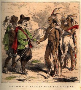 Pilgrims with Samoset